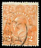 Lot 2114:2d Orange Die I - BW #95(9)i [9R36] White flaw on G of POSTAGE, Cat $20.
