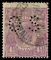 Lot 269:4½d Violet Die I - BW #118b perf 'OS', Cat $75.