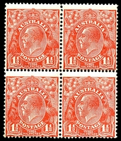 Lot 805:1½d Red Die II - BW #92aa Thin paper block of 4, Cat $400+.