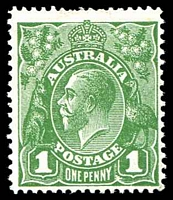 Lot 2913:1d Green - BW #81(4)ia Ferns [VII/54], Cat $200.