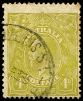 Lot 810:4d Olive - BW #116(4)e [4L25] Roo's tongue out, Cat $25, couple of toned perfs.