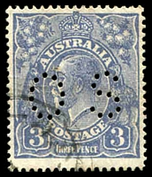 Lot 286:3d Blue Die Ia - BW #106aa Watermark inverted, perf 'OS' - Type A, Cat $150, couple of very lightly toned perfs.