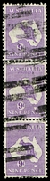 Lot 221:9d Violet - [4R30] White flaw joining NW corner of Tasmania lower unit in vertical strip of 3 [4R18,24,30], accidently left out of ACSC would be #29(4)q, Cat $100+.