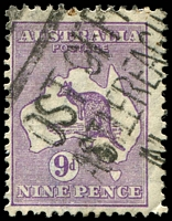 Lot 133:9d Violet - BW #28(4)ga [4L9] Die II substituted cliché - broken shading line below 'E P', Cat $200.