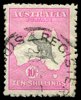 Lot 1026:10/- Grey & Pink [L34] BW #48B grey & deep aniline pink shade, Cat $375, with Break in inner right frame line below 2nd shading line