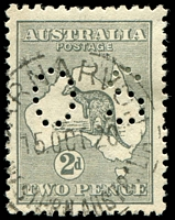 Lot 794:2d Grey Die I BW #7ba perf small 'OS', couple of short perfs and some toning.