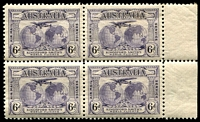 Lot 316:1931 Kingsford Smith BW #143e 6d violet marginal block of 4 with Extra islands [1/59-60,69-70], one non-varietal unit hinged, Cat $102.