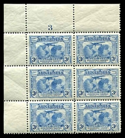 Lot 847:1931 Kingsford Smith BW #142d 3d Plane dropping mailbag, in TLC block of 6 (2x3) with Plate Number '3', one unit hinged.