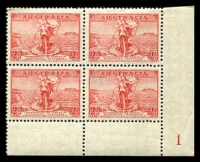 Lot 3166:1936 Cable BW #169zc 2d red, block of 4 [1D/R35-36,39-40], unit 40 with Coloured flaw left of headland at Stanley, Cat $100.