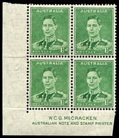 Lot 855:1941-42 1½d Green KGVI BW #186z McCracken corner imprint block of 4, Cat $30.