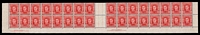 Lot 862:1942-50 2½d Scarlet KGVI BW #230aa wmk CofA lower marginal block of 32 on thin paper with both imprints, 3 units hinged and one unit badly affected by toning.