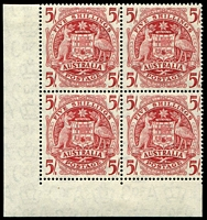 Lot 331:1949-64 Arms BW #268zb 5/- no imprint left corner block of 4, hinged in margin only, Cat $125.