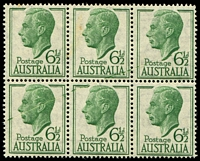 Lot 390:1952-54 6½d Green KGVI block of 6 with Pre-printing paper creasing affecting four units, odd tonespot.