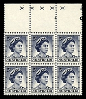 Lot 757:1959-66 QEII Definitives BW #355z 5d deep blue, part plate 2 block of 6 with coil perf, Cat $1,000 for block of 8, hinged in margin only. [BW # notes only 4 or 5 examples known. Our information is that all copies are part numbers as the sheets were all separated in half to make them more managable.]