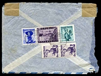 Lot 3685 [2 of 2]:1949 (Oct 28) use of 40g pair, 1s & 2s Costumes plus 5s Schönbruun x2 on 1s Aerogramme to Australia, opened roughly at left. [Quadruple weight rate?]