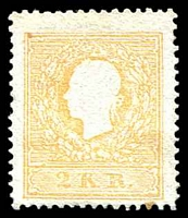 Lot 3106:1858-59 Franz Joseph SG #22b 2Kr orange Type II as mint (Cat £700 used), one toned perf.