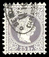 Lot 3571:1874-80 Franz Joseph Fine Type SG #65a 25k lilac, Cat £225