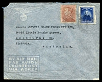 Lot 17064:1948 (Feb 8) use of 3f75 Film Festival & 10f purple-brown on air cover to Melbourne, small faults.