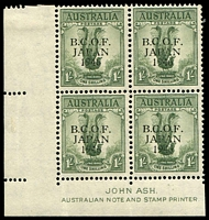 Lot 20009:1/- Lyrebird Ash left corner imprint block of 4, ACSC #J5z light creases, hinged in margin only, Cat $60.