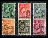 Lot 3173:1938-47 KGVI Definitives SG #110-3,118-9 1½d to 3d and 2/6d & 5/- chalk paper, 5/- stained to perfs, Cat £37. (6)