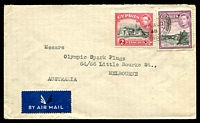 Lot 3681:1948 (Aug 28) use of 2p & 9p on air cover to Melbourne.