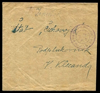 Lot 21106:1919(C) envelope, cancelled with light triple-circle 'Polni posta cesko-slovenskch vojsk/[emblem]/***' (B1), addressed to Lt. Col. at Czech army HQ, Irkutsk, reduced at right, some light creasing. [Czech Legion]