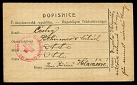 Lot 3871:1919(C) use of DOPISNICE card, cancelled with 'CESKOSLOVENSKY CERVENY KRIZ/+/Zaiatecky oddil.' (A1) in red, to Pelhrimov. [Czech Legion]