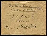 Lot 3980:1919(C) envelope, cancelled with triple-circle 'POLNI POSTA/CESKO-/SLOVENSKE/VOJSKO/NA RUSI/[posthorn]/1/POSTA/MILITARE