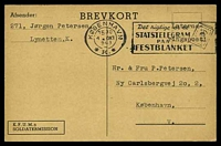 Lot 3396:1943 use of K.F.U.M.s Soldatermission card with typed 'Interne/ringspost!', cancelled with slogan 'KØBENHAVN/1530/4OKT/943/*K.*' (A1), from Lynetten, K. internment camp to Copenhagen.
