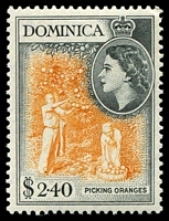 Lot 3421:1954-62 QEII Pictorials SG #158 $2.40 yellow-orange & black, Cat £22.