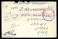 Lot 19435:1943 use of stampless OAS cover, cancelled with 'POST/OFFICE - MARITIME/MAIL' (A1) in red, to Yeadon, Leeds, with crowned circle 'PASSED BY CENSOR/No./4428' (A1-), letter included. [Robinson correspondence.]