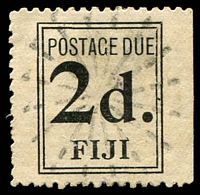 Lot 19623:1917 Thick Yellowish White Laid Paper SG #D3 2d black, wide setting, sunburst cancel, imperf at right, Cat £80.