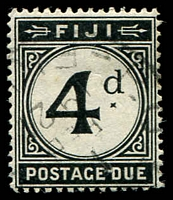 Lot 19624:1918 Wmk Multi Crown/CA SG #D10 4d black with 1921 CDS, Cat £29.