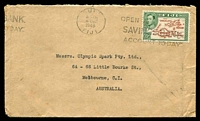 Lot 22028 [1 of 2]:1948 (Dec 4) use of 2½d Map on cover to Melbourne, small faults.