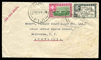 Lot 3939:1948 (Nov 4) use of 2d & 6d on air cover from Raki Raki to Melbourne, faults.