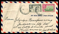 Lot 4039:1948 (May 17) use of 2d & 6d on air cover to Melbourne, small faults.