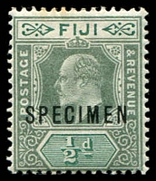 Lot 4029:1903 KEVII Wmk Crown/CA SG #104s ½d green & pale green ovptd 'SPECIMEN'.
