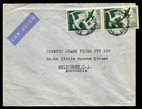Lot 4060:1949 (Jan 6) use of 40f Centaur pair on air cover to Melbourne.