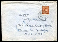 Lot 22634:1946 use of 24pf chestnut, cancelled with poor Frankfurt of 27.12.46 from the Lithuanian Emigrant Assembly Centre to Traunstein.