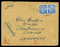 Lot 16907 [1 of 2]:1940 use of 20pf pair cancelled with light 'FELDPOST/b/31.12.40/' (from Feldpost 26123H - Caen, France), censored in Berlin, to Sandarne, Sweden. [Feldpost mail to overseas destinations is rare]