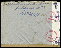 "Lot 16910 [2 of 2]:1941 use of 20pf light blue, cancelled with light 'FELDPOST/b/--19.9.41/[eagle]' on plain cover with circled 'T' in purple, crossed out in pencil with mss ""Feldpost"" notation, sealed at left with 'OberCommando der Wehrmacht/[eagle]/c - Geöffnet' tape & at base by plain brown strip, bearing circular 'Kriegsmarine/[eagle]/Dienstelle Feldpostnummer 11070' (B1), St Malo Harbour Commandant, backstamped with 'OberCommando"
