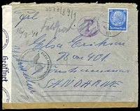 "Lot 16910 [1 of 2]:1941 use of 20pf light blue, cancelled with light 'FELDPOST/b/--19.9.41/[eagle]' on plain cover with circled 'T' in purple, crossed out in pencil with mss ""Feldpost"" notation, sealed at left with 'OberCommando der Wehrmacht/[eagle]/c - Geöffnet' tape & at base by plain brown strip, bearing circular 'Kriegsmarine/[eagle]/Dienstelle Feldpostnummer 11070' (B1), St Malo Harbour Commandant, backstamped with 'OberCommando"