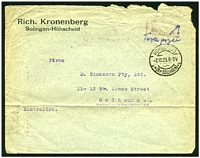 "Lot 4084:1923 stampless cover to Australia with poor red double-boxed 'Gebühr/bezalt' (not listed by Michel) and endorsed ""6,000,000"" and ""Taxe perçue"" all in TRC, cancelled with 'HÖHSCHEID/2.10.23.8-9V/*(Kr SOLINGEN)*' (A1)."