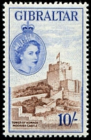 Lot 3544:1953 QEII Pictorials SG #157 10/- reddish brown & ultramarine, Cat £45.