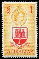 Lot 4024:1953-59 QEII Pictorials SG #158 £1 scarlet & orange-yellow, Cat £50.