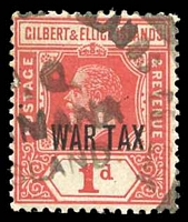 Lot 4043:Tamana: double-circle '[GILBERT AND ELLICE IS]LANDS COLONY/P.O./[TA]MANA/[I]SLAND/[*]' on 1d WAR TAX.  PO c.1918.