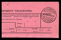 Lot 4046 [2 of 2]:1939 use of Telegram envelope (G.C.P. & T. No. 190.) with accompanying telegram, both cancelled with double-circle 'NSUTA WASSAW/23DEC1939/GOLD COAST' (A1+ - ERD).