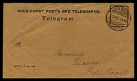 Lot 4046 [1 of 2]:1939 use of Telegram envelope (G.C.P. & T. No. 190.) with accompanying telegram, both cancelled with double-circle 'NSUTA WASSAW/23DEC1939/GOLD COAST' (A1+ - ERD).