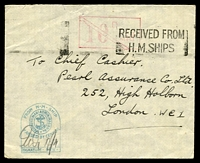 Lot 3833:1940s use of stampless cover (from Egypt?), cancelled with machine 'RECEIVED FROM/H.M.SHIPS' (A1), fine green tombstone censor handstamp in BLC, magenta '10D Pa