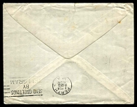 Lot 4082 [2 of 2]:1934 (Dec 14) air cover with 3d & 1/- KGV, from Herne Bay to Perth, WA, minor faults.